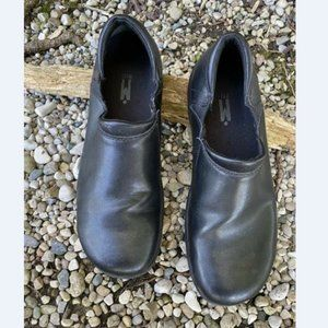 Mozo Mens Black Leather On Slip Work Shoes 10.5